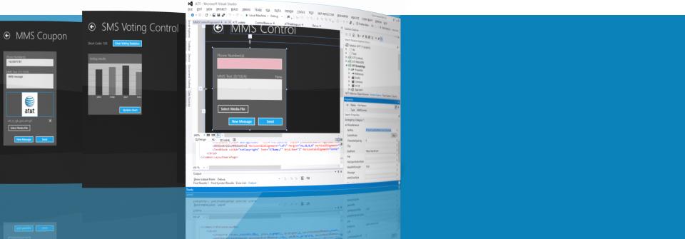 Invoke AT&T APIs, for Speech & Messaging using Microsoft Visual Studio extensions.