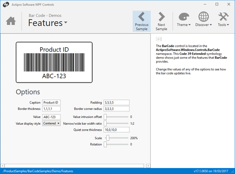 Actipro Bar Code for WPF