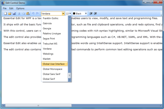 Syncfusion Essential Edit for WPF