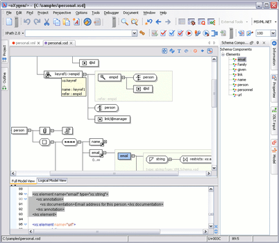 Oxygen xml editor professional visual xml schema editorall the elements from the xml schema specification have a graphical representation ccuart