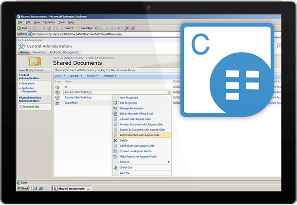Aspose.Cells for SharePoint