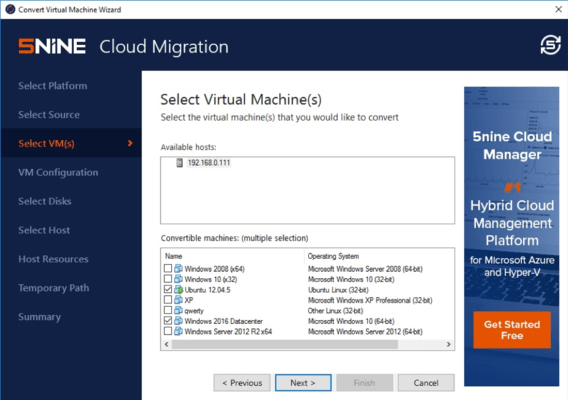 Screenshot of 5nine Cloud Migration