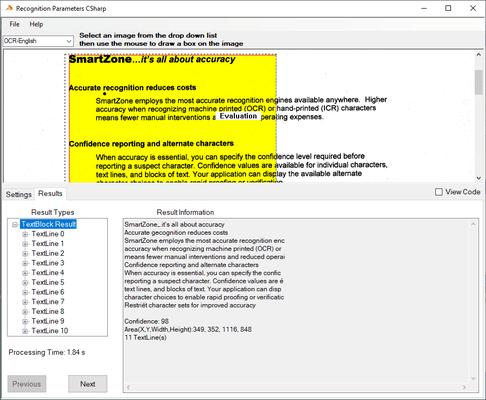 Screenshot of SmartZone ICR/OCR Professional