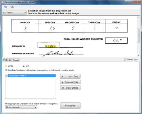 Screenshot of SmartZone ICR Professional
