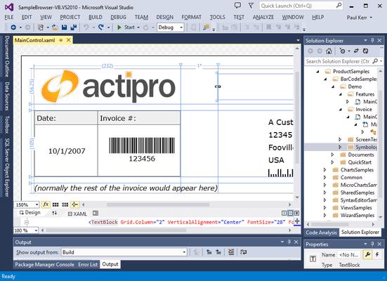 Screenshot of Actipro Bar Code for Silverlight