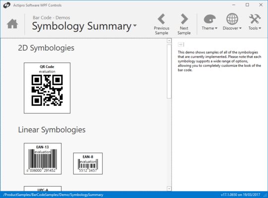 Screenshot of Actipro Bar Code for WPF