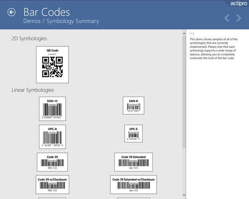 Screenshot of Actipro Bar Code for UWP