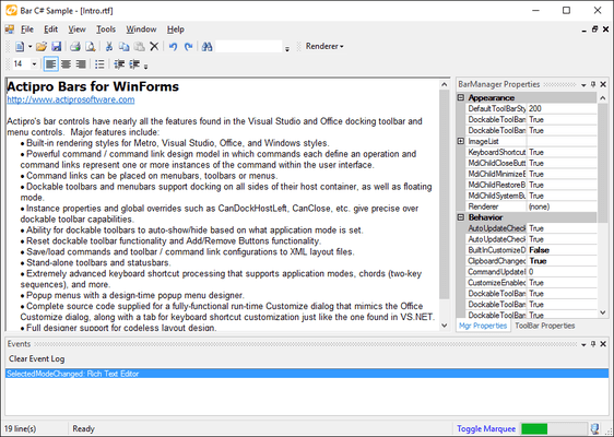 Screenshot von Actipro Bars for WinForms