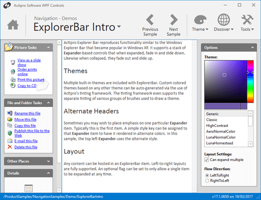 Screenshot von Actipro Navigation for WPF