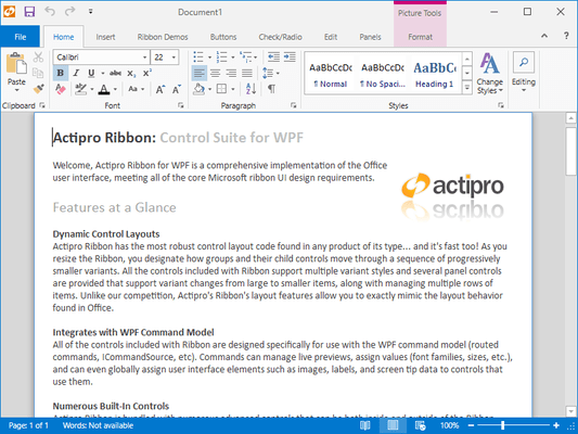 Screenshot von Actipro Ribbon for WPF