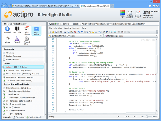 Screenshot of Actipro SyntaxEditor for Silverlight