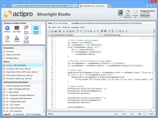 Actipro SyntaxEditor for Silverlight(英語版) のスクリーンショット