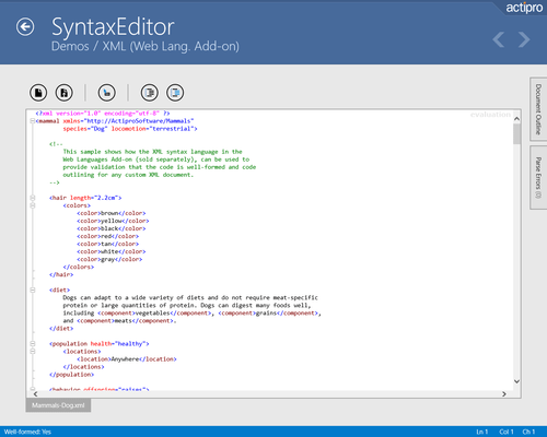 Screenshot of Actipro SyntaxEditor for UWP