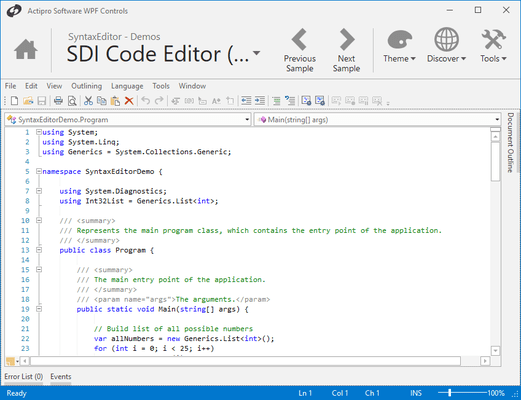 Screenshot von Actipro SyntaxEditor for WPF