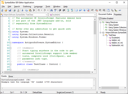 Schermata di Actipro SyntaxEditor for WinForms