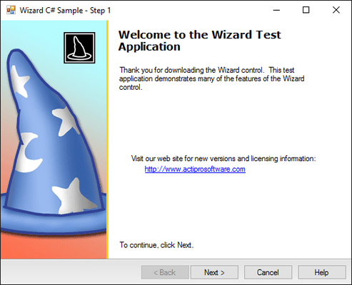 Screenshot of Actipro Wizard for WinForms