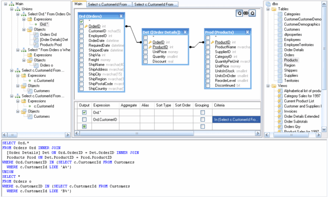Active Query Builder for .NET WinForms のスクリーンショット