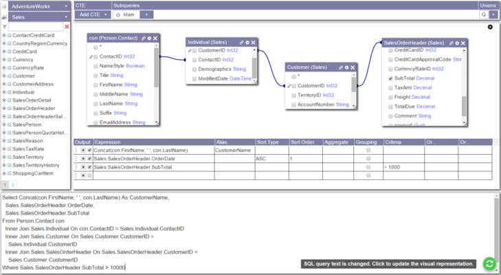 Screenshot von Active Query Builder for .NET All-in-one