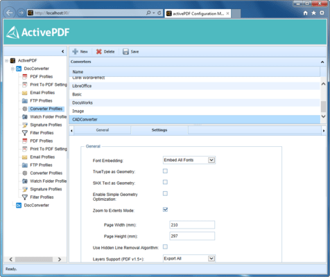 Screenshot of ActivePDF CADConverter