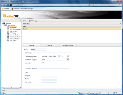 Screenshot of ActivePDF DocConverter