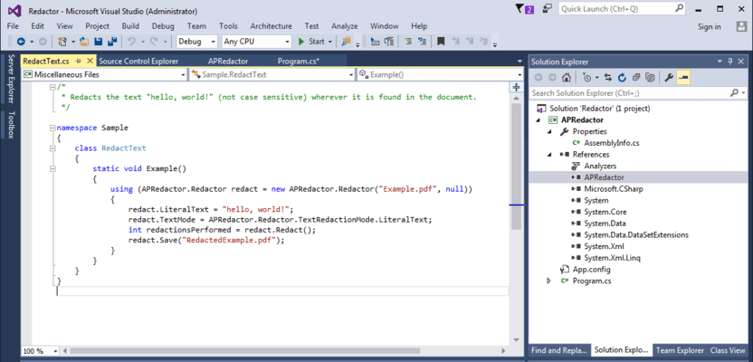 ActivePDF Redactor (英語版) のスクリーンショット