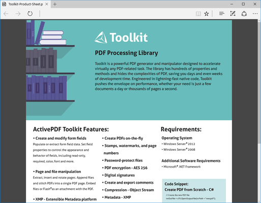 Screenshot of ActivePDF Toolkit