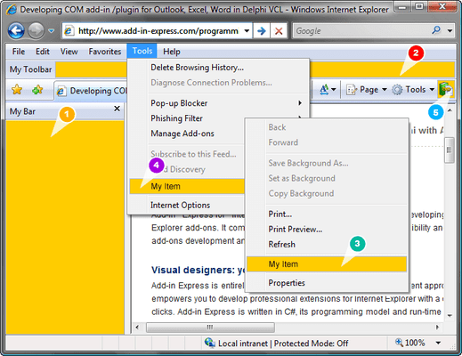 Screenshot of Add-in Express for Internet Explorer and Microsoft .net