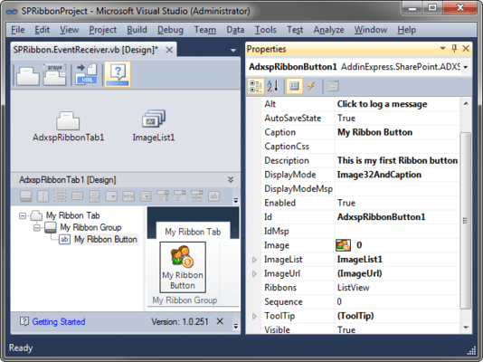 Screenshot of Ribbon Designer for Microsoft SharePoint and Office 365