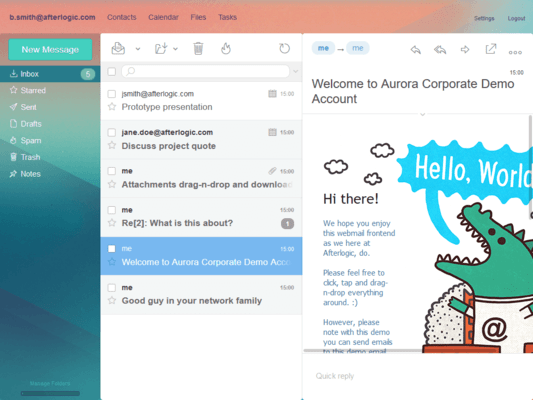 Screenshot of Afterlogic Aurora Corporate