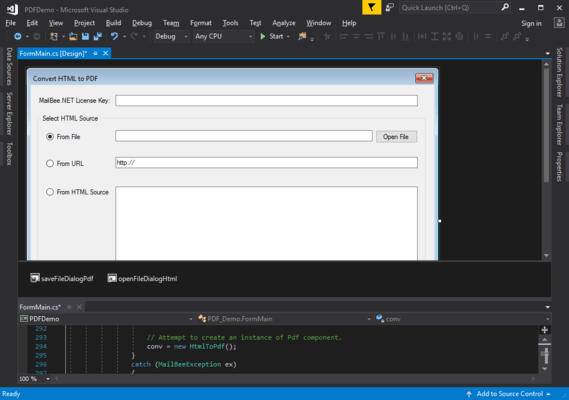 Screenshot of MailBee.NET PDF Converter