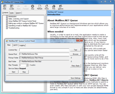Screenshot of MailBee.NET Queue