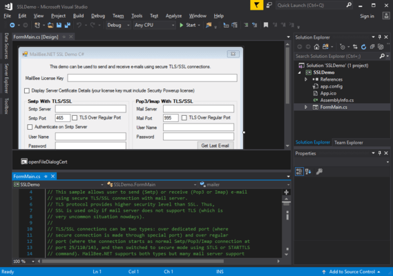 Captura de pantalla de MailBee.NET Security