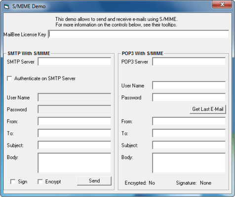 Screenshot of MailBee Objects S/MIME