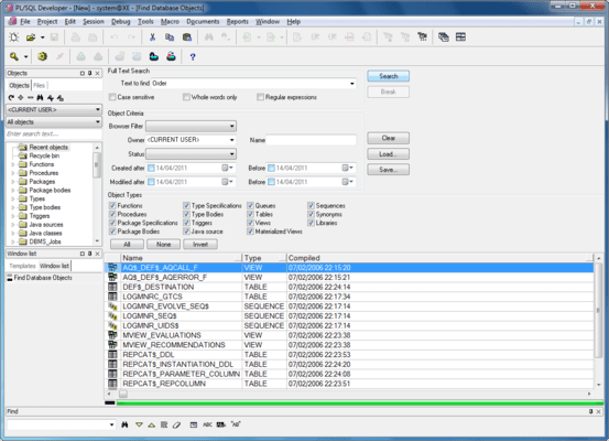 Captura de pantalla de PL/SQL Developer