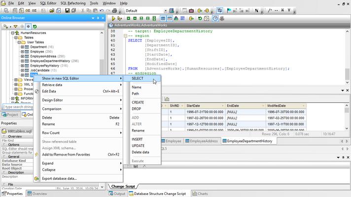 Schermata di Altova DataBaseSpy Enterprise Edition