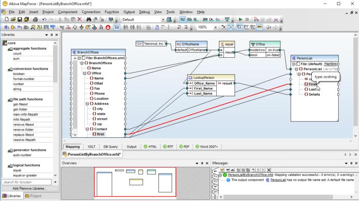 Screenshot of Altova MapForce Professional Edition - Upgrade from Altova MapForce Basic Edition
