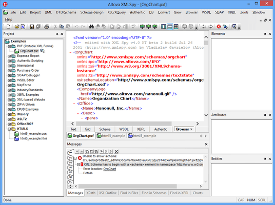 Screenshot of Altova MissionKit Professional Edition
