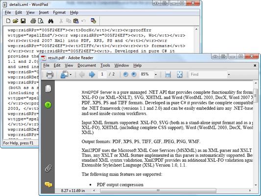XML2PDF Formatting Engine(英語版) のスクリーンショット