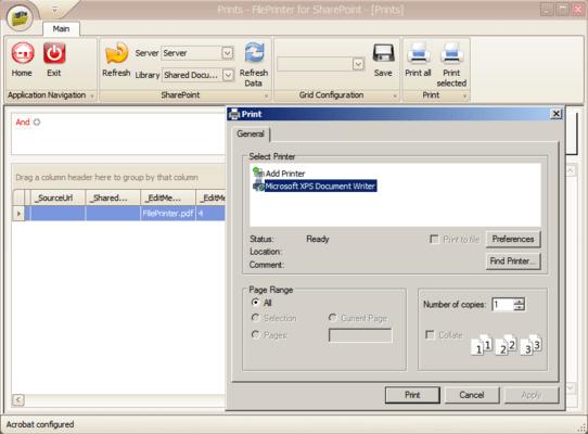 File Printer for SharePoint(英語版) のスクリーンショット