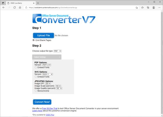 Captura de tela do Office Server Document Converter (OSDC)