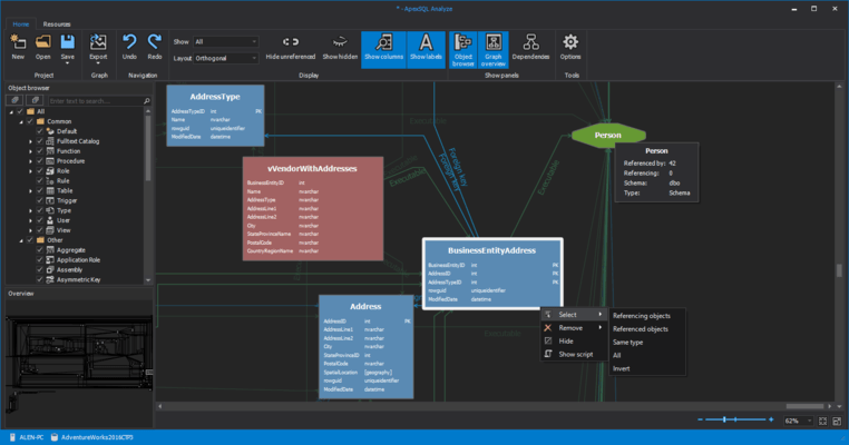 ApexSQL Analyze のスクリーンショット