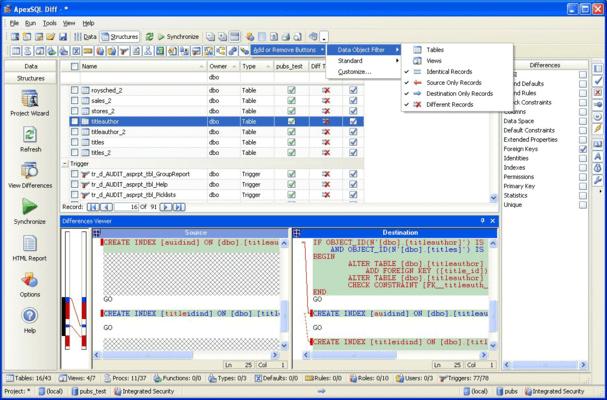 Screenshot von ApexSQL Change Management