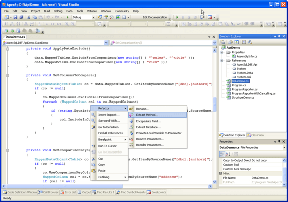Screenshot of ApexSQL Diff API