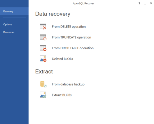 Screenshot of ApexSQL Recover