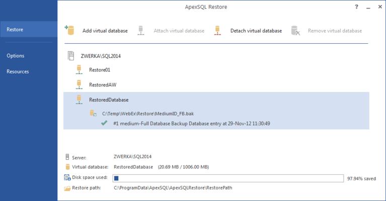 Screenshot of ApexSQL Restore