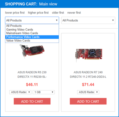 Screenshot of ArtfulBits Shopping Cart