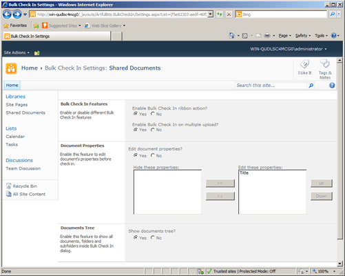 Screenshot of Bulk Check In