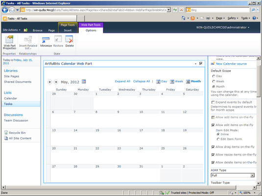 Screenshot of Calendar Web Part
