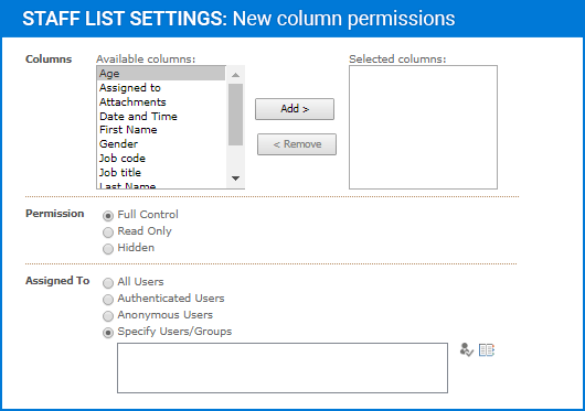 Capture d'écran de Column Permissions