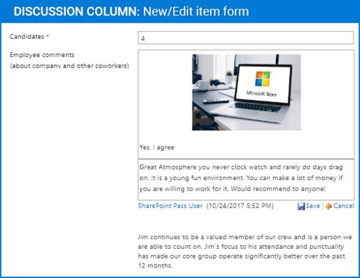 Screenshot of Discussion Column